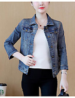 cheap -Women's Daily Vintage Winter Denim Jacket,Solid Round Neck Short Sleeve Regular Cotton Acrylic Others Pleated