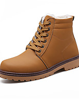cheap -Men's Shoes Leatherette Spring Fall Fluff Lining Combat Boots Oxfords Mid-Calf Boots for Casual Outdoor Brown Yellow Black