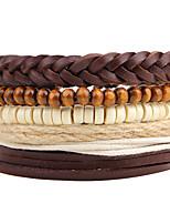 preiswerte -Herrn Damen Strang-Armbänder Wickelarmbänder Retro Gothic Modisch Hanfseil Leder Kreisform Geometrische Form Wellen Schmuck Party Abiball