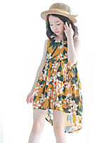 Girl's Holiday Floral Dress,Cotton Summer Sleeveless Boho Yellow