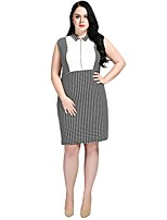 cheap -Cute Ann Women's Party Work Vintage Casual Sexy A Line Shift Sheath Dress,Color Block Houndstooth Peter Pan Collar Midi Knee-length Sleeveless