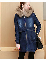 cheap -Women's Going out Simple Winter Fall Denim Jacket,Solid Hooded Long Sleeve Long Nylon Patchwork