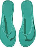 Недорогие -Для женщин Обувь Лён Лето Обувь через палец Тапочки и Шлепанцы Плоские для Повседневные Черный Желтый Пурпурный Красный Синий