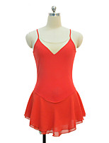 cheap -Figure Skating Dress Women's Girls' Ice Skating Dress Orange Spandex Inelastic Performance Practise Skating Wear Solid Sleeveless Ice