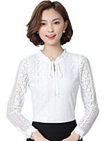cheap -Women's Daily Holiday Sophisticated Winter Fall Shirt,Solid Round Neck Long Sleeve Polyester Thin