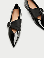 cheap -Women's Shoes Patent Leather Spring Fall Comfort Flats Chunky Heel Pointed Toe for Casual Black