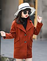 cheap -Girls' Solid Jacket & Coat,Nylon Long Sleeves Brown