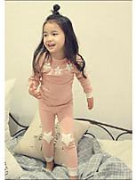 Недорогие -Девочки Пижамы Полиэстер Цвет неба Длинный рукав Мультяшная тематика Зеленый Розовый