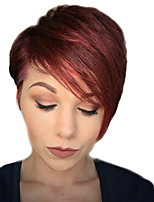 cheap -Women Human Hair Capless Wigs Dark Wine Medium Auburn Natural Black Short Straight Pixie Cut Side Part