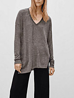 cheap -Women's Daily Holiday Street chic Winter Fall T-shirt,Solid V Neck Long Sleeve Polyester
