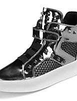 Недорогие -Для мужчин обувь Полиуретан Весна Осень Удобная обувь Кеды Заклепки для Повседневные Черный Серебряный