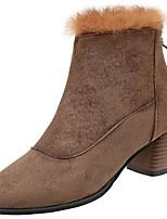 economico -Da donna Scarpe Cotone Inverno Stivali Stivaletti Heel di blocco Punta tonda Stivali metà polpaccio per Casual Nero Cachi