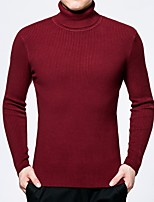 cheap -Men's Going out Regular Pullover,Solid Turtleneck Long Sleeves Polyester Winter Opaque Stretchy