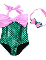 cheap -The Little Mermaid Swimwear Bikini Kid Christmas Masquerade Festival / Holiday Halloween Costumes Purple Blue Pink Color Block