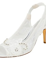 cheap -Women's Shoes Stretch Satin Summer Basic Pump Wedding Shoes Stiletto Heel Peep Toe Crystal Applique for Party & Evening Dress Ivory
