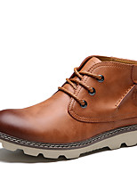 Недорогие -Для мужчин обувь Натуральная кожа Дерматин Весна Осень Удобная обувь Ботинки Ботинки для Повседневные Черный Коричневый