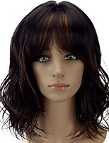 cheap -Women Synthetic Wig Medium Length Curly Brown Ombre Hair With Bangs Natural Wigs Costume Wig