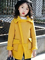 cheap -Girls' Daily Going out Solid Patchwork Jacket & Coat,PU Polyester Long Sleeves Cute Casual Active Yellow Blushing Pink