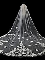 baratos -Uma Camada Estilo Moderno Acessórios Floral Borda com aplicação de Renda De Renda Europeu Princesa Casamento Oversized Véus de Noiva Véu