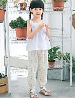 economico -Pantaloni Da ragazza Fantasia floreale Inverno Beige