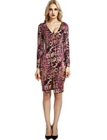 cheap -Women's Party Club Vintage Casual Sexy Bodycon Shift Sheath Dress,Floral Leopard Animal Print V Neck Above Knee Long Sleeve Rayon