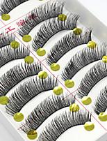 preiswerte -10 Wimpern Augenwimpern Vollbandwimpern Augenwimpern Dick Natürlich lang Natürlich Handgemacht Faser Black Band 0.07mm
