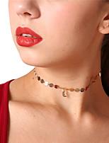 cheap -Women's Circle Simple Sweet Choker Necklace Pendant Rhinestone Copper Alloy Choker Necklace Pendant , Daily Date