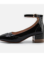 cheap -Women's Shoes Cowhide Nappa Leather Spring Fall Comfort Heels Chunky Heel for Casual Almond Black