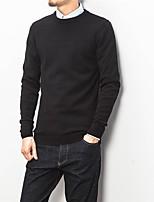 Недорогие -Для мужчин На каждый день Уличный стиль Обычный Пуловер Однотонный,Круглый вырез Длинный рукав Полиэстер Зима Осень Плотная strenchy
