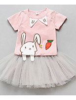 Girl's Casual/Daily Animal Print Dress,Cotton Summer Short Sleeves Cartoon Blushing Pink