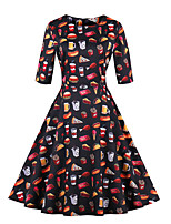 cheap -Women's Party Going out Vintage Casual A Line Sheath Dress,Print Round Neck Knee-length Half Sleeve Cotton Winter Fall Mid Rise