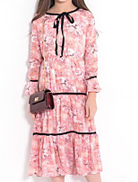 cheap -Girl's Holiday Casual/Daily Floral Dress,Polyester Spring Summer Long Sleeves Simple Cute Blushing Pink