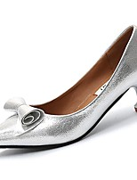 Women's Shoes PU Spring Fall Comfort Heels Kitten Heel Pointed Toe for Casual Silver Black