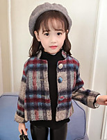 cheap -Girls' Plaid Jacket & Coat,Polyester Long Sleeves Simple Vintage Khaki