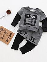 cheap -Boys' Daily School Print Clothing Set,Cotton All Seasons Long Sleeve Casual Dark Gray