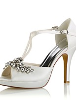cheap -Women's Shoes Stretch Satin Summer Basic Pump Wedding Shoes Stiletto Heel Peep Toe Crystal Buckle for Party & Evening Dress Ivory