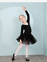 cheap -Kids' Dancewear Leotards Children's Training Cotton Crystals/Rhinestones Long Sleeve Natural Leotard
