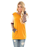 cheap -Women's Daily Holiday Street chic Winter Fall T-shirt,Color Block Round Neck Long Sleeve Polyester