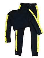 preiswerte -Damen Laufshirt mit Laufhose Langarm Fitness Trainingsanzug für Rennen Fitness Baumwolle Kunstseide Schlank Schwarz S M L