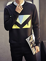 cheap -Men's Casual/Daily Sweatshirt Print Round Neck Micro-elastic Polyester Long Sleeve Winter Fall
