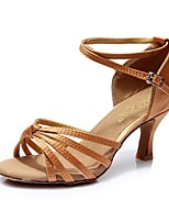 "cheap -Women's Latin Synthetic Satin Sandal Heel Sneaker Indoor Cuban Heel Khaki Camel 3"" - 3 3/4"" Customizable"