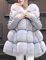 cheap -Women's Going out Casual/Daily Street chic Winter Fall Fur Coat,Solid Hooded Sleeveless Regular Polyester Pleated