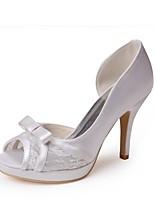 preiswerte -Damen Schuhe Spitze Seide Frühling Sommer Pumps Hochzeit Schuhe Stöckelabsatz Peep Toe Satin Blume für Hochzeit Party & Festivität Weiß