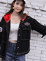 Women's Casual/Daily Street chic Spring Fall Denim Jacket,Letter Hooded Long Sleeve Short Cotton Tassel Embroidered