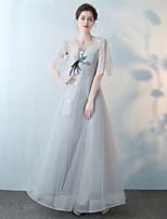 preiswerte -A-Linie Schmuck Knöchel-Länge Spitze Tüll Formeller Abend Kleid mit Stickerei Spitze durch Embroidered Bridal
