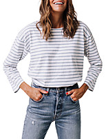 cheap -Women's Going out Casual/Daily Vintage Street chic Spring Fall T-shirtStriped Round Neck Long Sleeve Polyester Medium