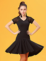 Latin Dance Dresses Women's Performance Ice Silk Pleated Short Sleeve Natural Dresses