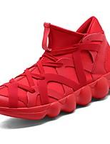 Недорогие -Для мужчин обувь Полиуретан Весна Осень Светодиодные подошвы Кеды для Повседневные Черный Красный