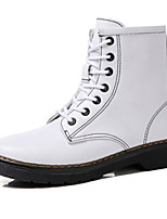 cheap -Women's Shoes Leather Winter Comfort Combat Boots Boots Flat Booties/Ankle Boots for Casual Outdoor Black White