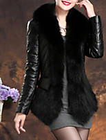 cheap -Women's Going out Casual/Daily Street chic Winter Fall Fur Coat,Solid V Neck Long Sleeve Regular Faux Fur PU Fur Trim